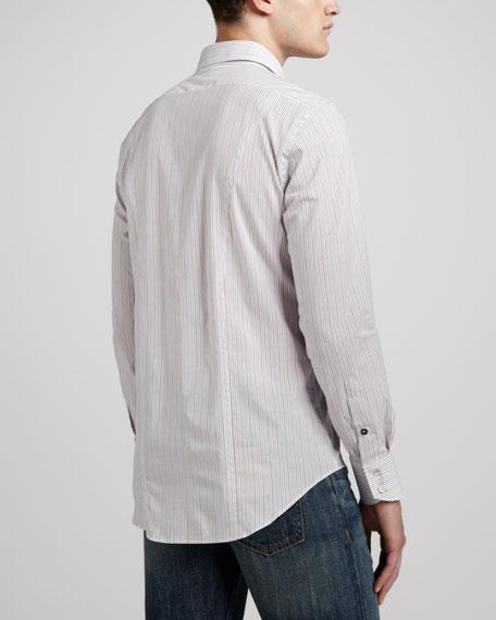 Charles Striped Dress Shirt, White/Pink/Blue
