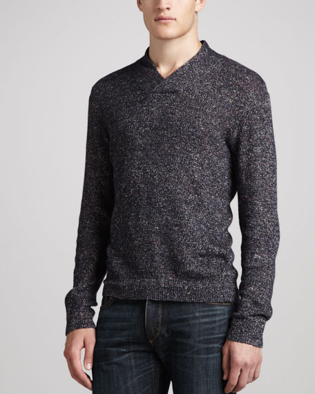 Donegal Shawl-Collar Sweater, Navy