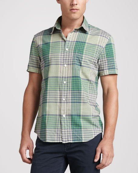 Plaid Short-Sleeve Shirt, Green