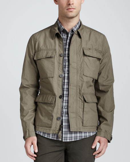 Khaki Zip-Button Military Jacket