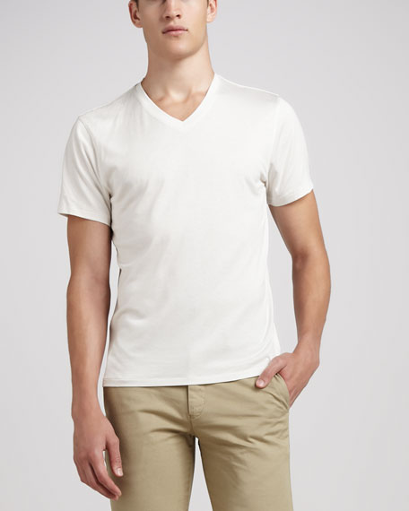 Silk/Cotton V-Neck Tee, White