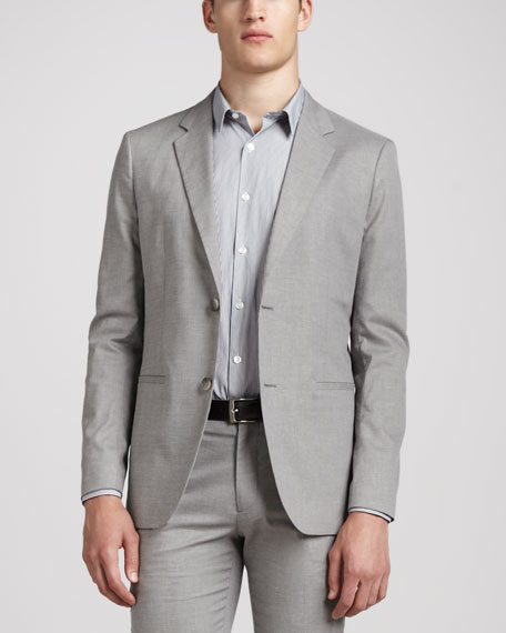 Textured Two-Button Jacket, Gray