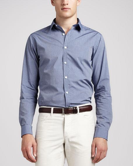 Small-Check Sport Shirt, Blue