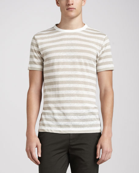 Striped Linen Tee, Cream