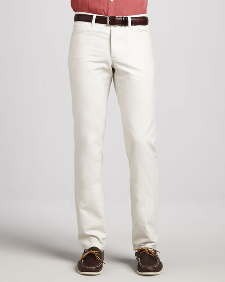 Canvas 5-Pocket Pants, Cream