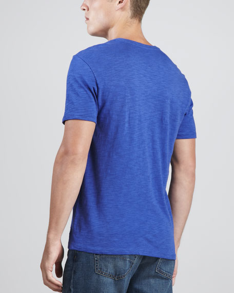V-Neck Slub Tee, Blue