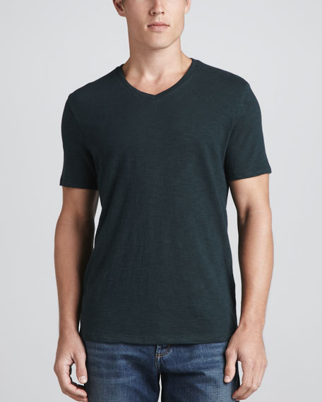 V-Neck Slub Tee, Peacock