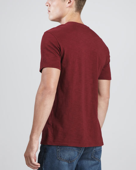 V-Neck Slub Tee, Red