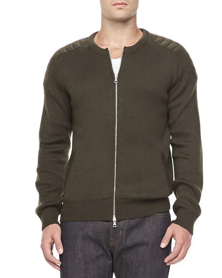 Zip Cardigan with Shoulder Detail, Green