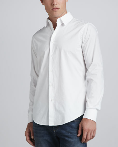 Solid Stretch Shirt, White