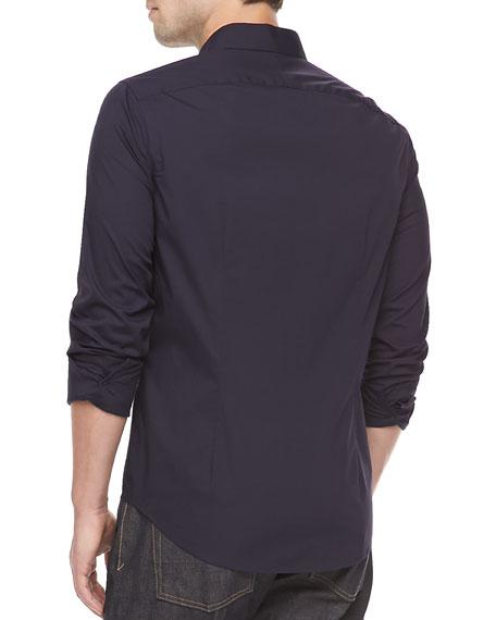 Stretch Cotton Shirt, Navy