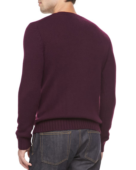 Cashmere V-Neck Sweater, Magenta
