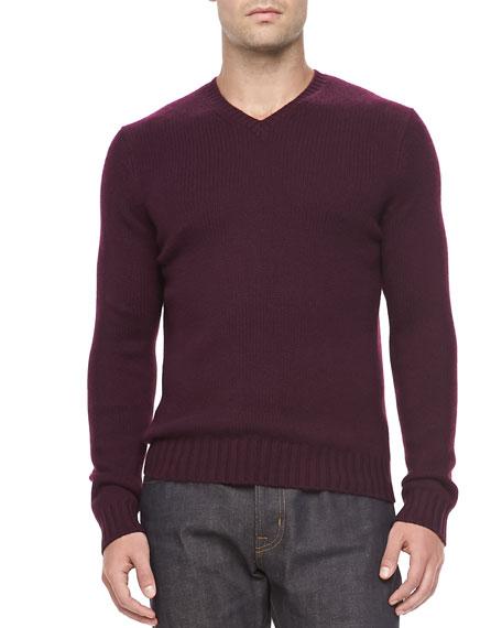 Cashmere V-Neck Sweater, Magenta
