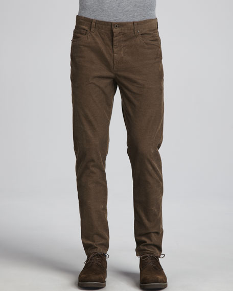 5-Pocket Corduroy Pants, Brown