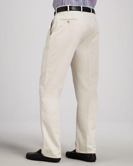 Straight Cotton-Twill Pants, Stone