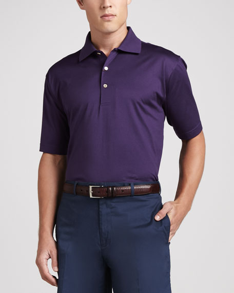 Lisle-Knit Cotton Polo, Eggplant