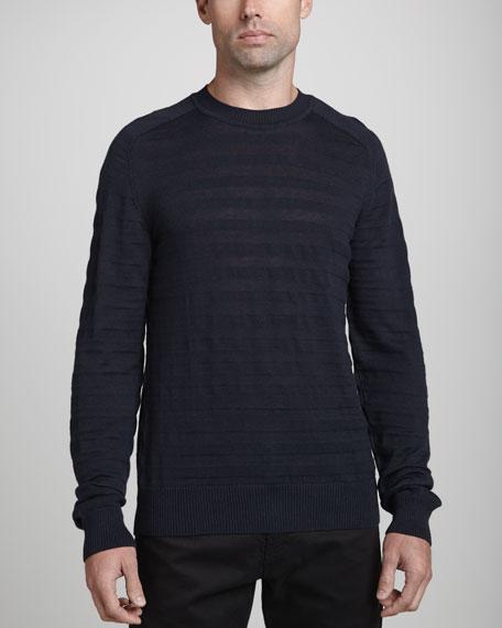 Striped Slub-Knit Crewneck Sweater, Navy