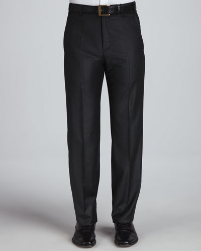 Flat-Front Pants, Charcoal Platinum