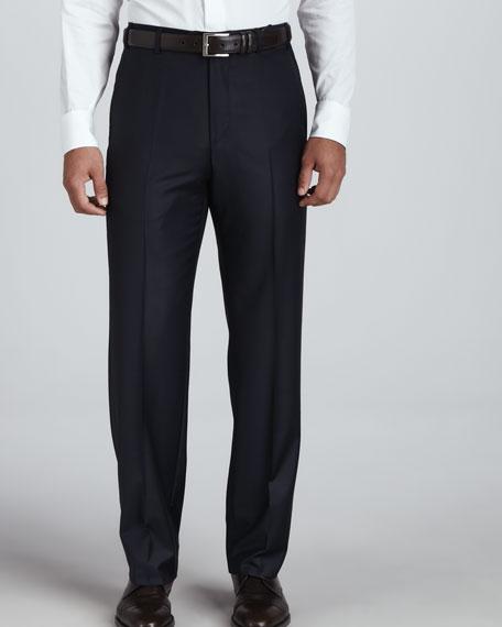 Flat-Front Pants, Navy