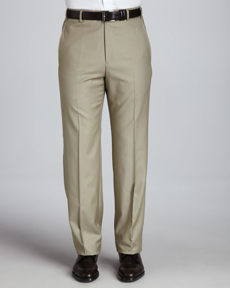 Parker Flat-Front Super 150's Trousers, Taupe