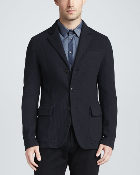 Single-Breasted Textured Jersey Jacket, Navy