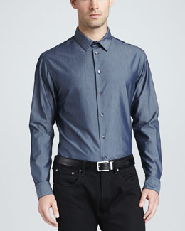 Giorgio Armani Chambray Long-Sleeve Sport Shirt