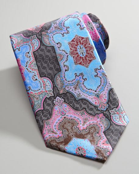 Quindici Moroccan-Print Silk Tie, Black