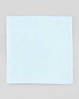 Neiman Marcus Linen Pocket Square, Light Blue
