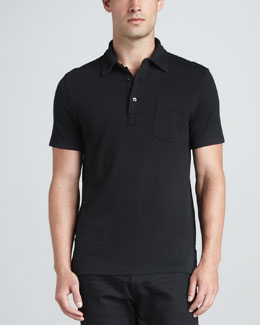 Ralph Lauren Black Label Patch-Pocket Polo, Black