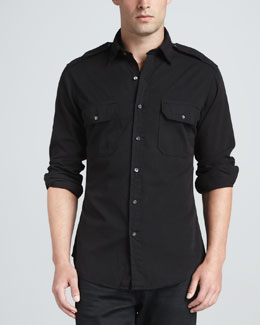 Ralph Lauren Black Label Casual Military Shirt, Black