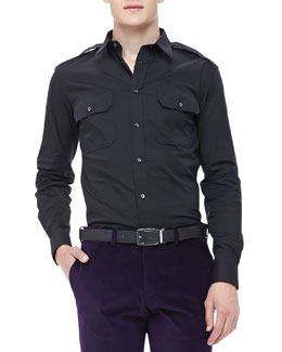 Ralph Lauren Black Label Stretch-Poplin Military Shirt, Black
