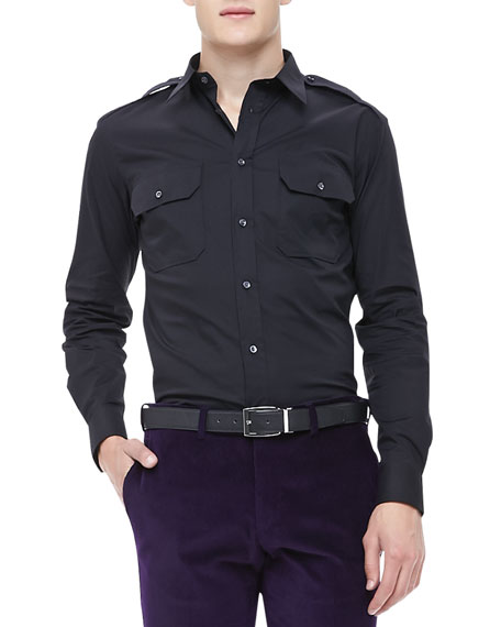 Stretch-Poplin Military Shirt, Black