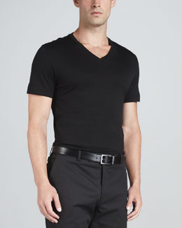 Ralph Lauren Black Label V-Neck Knit Tee, Black