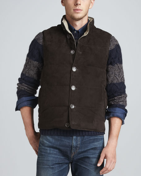 Suede Puffy Vest, Chocolate