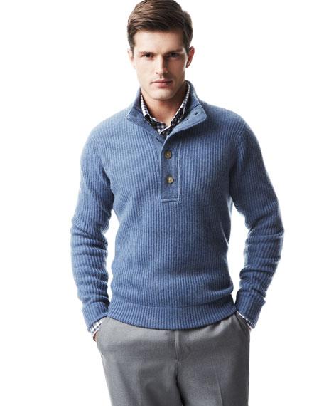 Ottoman-Knit Cashmere Sweater, Denim