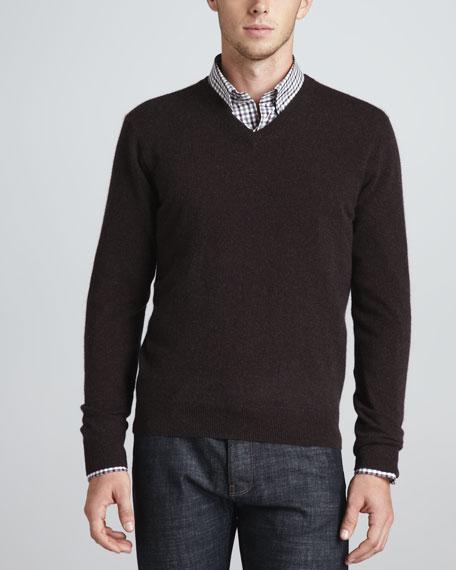 V-Neck Cashmere Pullover Sweater, Cinder
