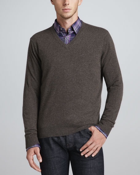 V-Neck Cashmere Pullover Sweater, Mouse Brown