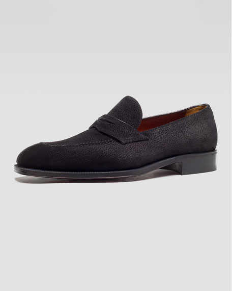 Lizard-Print Suede Penny Loafer