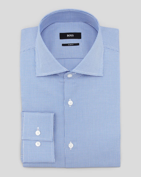 Slim-Fit Houndstooth Dress Shirt, Blue