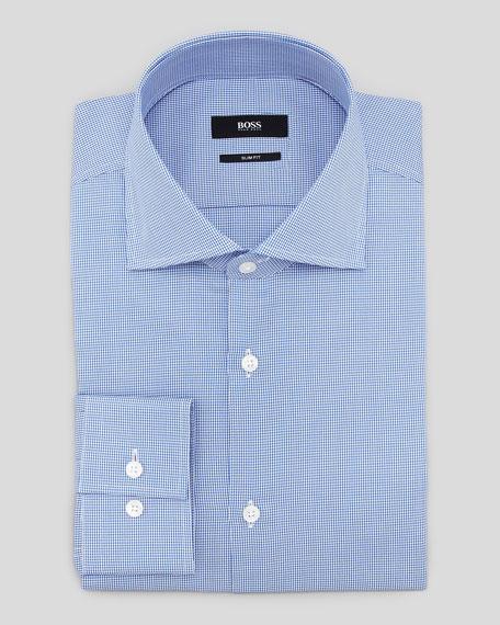 Slim-Fit Houndstooth Dress Shirt, Blue