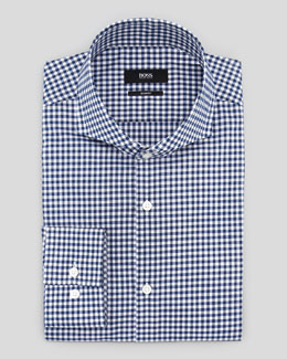 Hugo Boss Slim-Fit Gingham Dress Shirt, Navy/Black