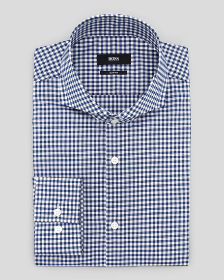 Hugo Boss Slim Fit Gingham Dress Shirt Navy Black