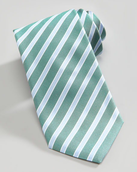 Mixed Stripe Silk Tie, Green/Blue