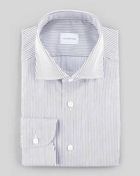 Pencil Striped Dress Shirt, White/Navy