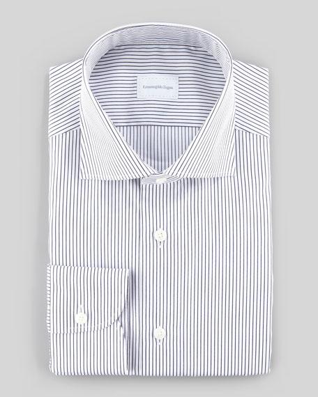 Pencil Striped Dress Shirt, White/Navy