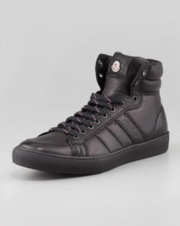Moncler Lyon Leather High-Top Sneaker, Black