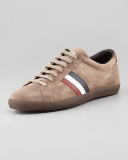 Moncler Monaco Low-Top Suede Sneaker, Brown