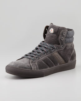Moncler Lyon Suede High-Top Sneaker, Gray