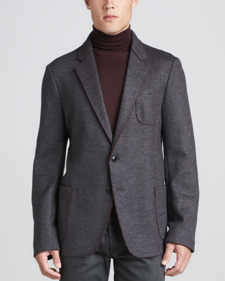 Patch Pocket Jacket, Gray/Burgundy
