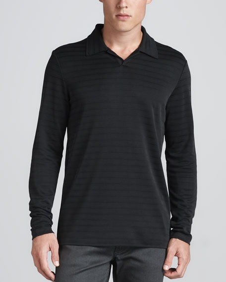 Horizontal-Stripe Jersey Polo, Gray/Black